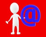 3d wit karakter, die zich dichtbij aan e-mailteken bevinden vector illustratie