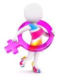 3d wit mensen vrouwelijk teken vector illustratie