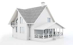 3d wit modern huis stock illustratie