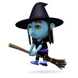 3d Witch on broomstick Royalty Free Stock Photography