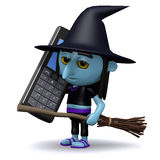 3d Witch on cellphone Stock Photos