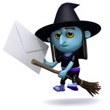 3d Witch delivers a letter by broomstick Stock Photography