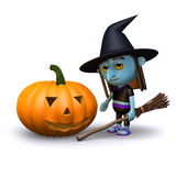 3d Witch and pumpkin Royalty Free Stock Images