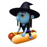 3d Witch rides a hot dog Stock Image