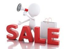 3d witte aankondiging van de mensenverkoop met megafoon en het winkelen bedelaars Stock Foto's