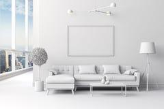 3d witte binnenlandse ruimteopstelling Stock Afbeeldingen