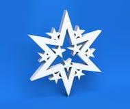 3d witte die Kerstmissneeuwvlok op blauwe achtergrond wordt geïsoleerd Royalty-vrije Stock Fotografie