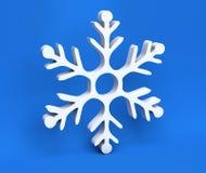 3d witte die Kerstmissneeuwvlok op blauwe achtergrond wordt geïsoleerd Royalty-vrije Stock Foto's