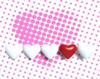 3d witte en rode harten op roze puntenachtergrond Stock Foto