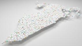 3D Witte Kaart van Bahrein - Midden-Oosten Royalty-vrije Stock Afbeeldingen
