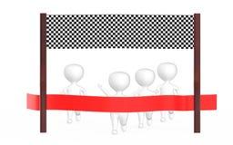 3d witte karakter staat op het punt de afwerkingslijn te kruisen die velen precceding ander karakter, s royalty-vrije illustratie