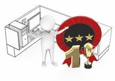 3d witte kerel, beste werknemer, hoogste no1-uitvoerder wekte de status van binnen een bureaucel naast op nummer 1 gouden trofee  vector illustratie