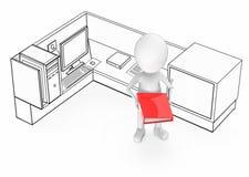 3d witte kerel die een rode kleurendossier in zijn handen houden en zich binnen een bureaucel bevinden royalty-vrije illustratie