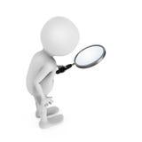 3D witte mens die door het vergrootglas kijken stock illustratie