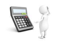 3d witte mens met calculator Stock Afbeelding