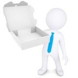 3d witte mens met een open doos van een pizza Stock Foto