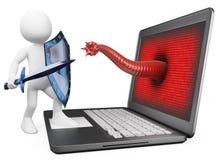 3D witte mensen. Antivirus bescherming tegen computervirus Stock Fotografie