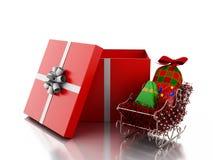 3d Witte mensen binnen een giftdoos Kerstmistak en klokken Stock Foto