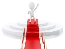 3d Witte mensen bovenop podium met rood tapijt Royalty-vrije Stock Fotografie
