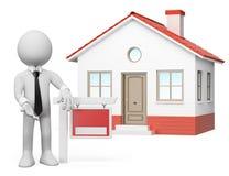 3d witte mensen De huizen van onroerende goederen?, Vlakten voor verkoop of voor huur Voor verkoop Stock Foto's