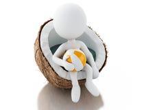3d witte mensen die in een kokosnoot zitten Het concept van strandvacaction Stock Fotografie