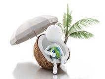 3d witte mensen die in een kokosnoot zitten Het concept van strandvacaction Stock Foto's