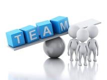 3d witte mensen en een saldo Het concept van het team vector illustratie