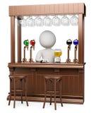 3D witte mensen. Houten bar Stock Foto's