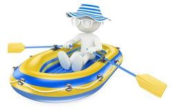 3d witte mensen Kind die in een opblaasbare boot paddelen Royalty-vrije Stock Afbeeldingen