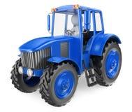 3d witte mensen Mens die een tractor drijft Stock Foto