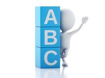 3d witte mensen met ABC-kubussen op witte achtergrond Royalty-vrije Stock Afbeelding