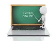 3d witte mensen met laptop Online onderwijsconcept Royalty-vrije Stock Foto's