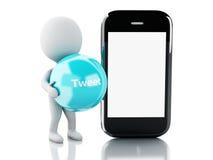 3d Witte mensen met smartphone en tjirpen bel Stock Fotografie