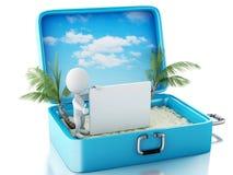 3d witte mensen met uithangbord in een reiskoffer Conc de zomer Stock Foto's
