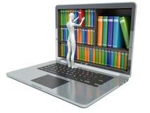 3d witte mensen Nieuwe technologieën Digitaal Bibliotheekconcept Stock Afbeelding