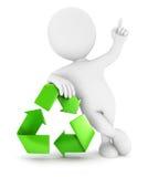 3d witte mensen recycleren teken Stock Foto