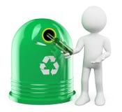 3d witte mensen Recyclerende glascontainer Royalty-vrije Stock Afbeeldingen