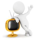 3d witte mensen retro televisie Royalty-vrije Stock Foto's