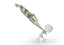 3D witte mensen trekken geld terug Royalty-vrije Stock Fotografie