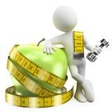 3D witte mensen. Verlies gewicht met sport en gezond voedsel Stock Afbeelding