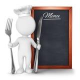 3d witte mensenchef-kok met menu Stock Fotografie