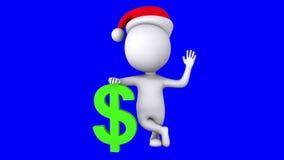 3d witte mensentribune met groen dollarteken stock video