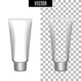 3d witte realistische kosmetische lege buizen van het pakketpictogram op transparante vectorillustratie als achtergrond Realistis Stock Afbeelding
