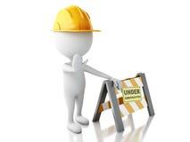 3d witte teken van het menseneinde met Helm In aanbouw concep Stock Foto's