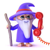3d Wizard answers the phone promptly Stock Photography