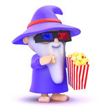 3d WIzard is astounded by the latest technology. 3d render of a wizard eating popcorn whilst watching a 3d movie wearing special magical glasses Royalty Free Stock Photo