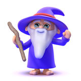 3d Wizard casts a spell Royalty Free Stock Photos