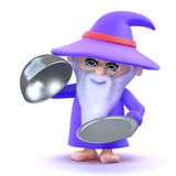 3d Wizard conjures up a silver service tray Royalty Free Stock Photo