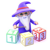 3d Wizard counting Royalty Free Stock Image