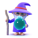 3d Wizard with crystal ball Stock Photo